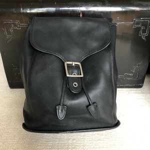 Rare vintage Coach large leather backpack in black
